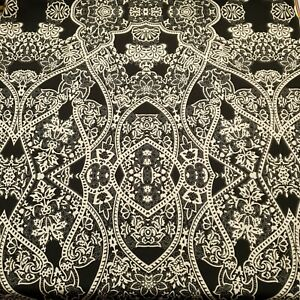 2 Metres Black White Swirl paisley Print Scuba Crepe Jersey Fabric