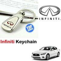 Infiniti Car 3D Logo Keychain Metal Reflective Chrome Keyring Keyfob Key Chain
