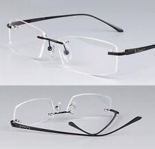 Luxury Brand Pure Titanium Slim Eyeglasses Rimless frame Men Black Optic Glasses