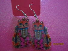 Colorful Calico Cat Dangle Earrings