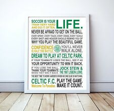 "Celtic FC ""Soccer Is Your Life"" Manifesto Poster, 17"" x 22"""