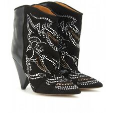 $1200 ISABEL MARANT MEMPHIS BLACK LEATHER SUEDE STUDDED EMBROIDERED BOOTS 10 41