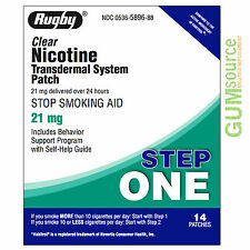 Rugby Nicotine Patch Step 1 (21mg) Clear  4 boxes 56 patches