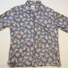 Reyn Spooner Blue SS Hawaiian Girl Palm Tree Masks Print Button Shirt Men's M