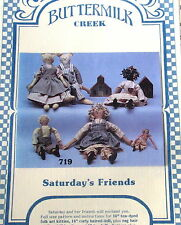 Vtg 80s Primitive craft pattern doll Cat Buttermilk Creek Saturdays Friends