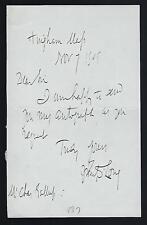 John Davis Long 32nd Governor of Massachusetts signed note dated 1905 sec Navy
