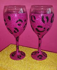 2 caliente rosa leopardo vino Brillo Gafas Boda Cumpleaños Regalo De Navidad Presente