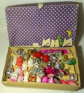 MINI TOYS SET Vintage Christmas ornaments Soviet New Year toy USSR