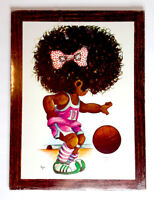 Vintage decorative wall plaque full color, girl playing basketball, NOS