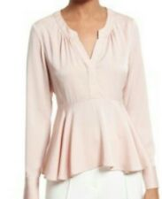 USA Milly Brooke Women's Stretch Silk Blouse Blush Sz 10 Retail Value  $325.00