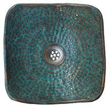 Green Patina Aged Oxidized Pure Copper Square Bathroom Sink Kitchen Remodel