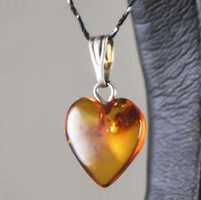 Natural Baltic amber pendant genuine Heart