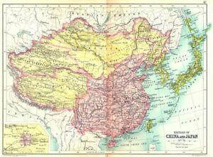 CHINA & JAPAN. Empires; Inset Beijing Peking. Tibet Mongolia Manchuria 1909 map