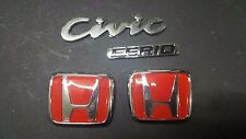 Civic FERIO Type R EG9 2 Piece Pair Badge Logo H Emblem Red S2A 3M Front & Rear