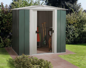 Arrow Dresden Outdoor Garden Metal Storage Shed, Green 1.8m x 1.4m - 6' x 5'