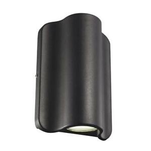 Black Outdoor Integrated LED Wall Mount Dual Sided Pocket Lantern Light