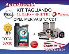 KIT FILTRI TAGLIANDO OPEL MERIVA B 1.7 CDTI 96KW DAL 8/2010 + 5L OLIO TOTAL 5W30