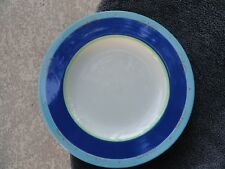 Pfaltzgraff La Rochelle Navy Aqua Red Scrolls Rim White Dinner Plate 5546