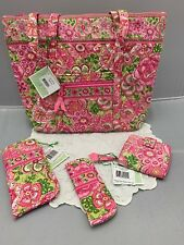 Vera Bradley Petal Pink Villager Eyeglass & Readers Case + Mini Zip Wallet New!