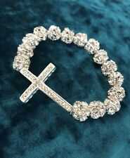Fashion Platinum Crystal Rhinestone Cross Beads Bracelet for Women Girl