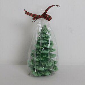 St. Nicholas Square Farmhouse Christmas Tree Candle Green Tree w/Snow Kohls New