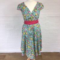 BNWT Joe Browns Women's Dress Size UK12 Knee Length Blue & Pink Floral Tie Waist