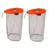 Ultra-light Drawstring Storage Bag Mesh Sack for Travel Camping Hiking Orange