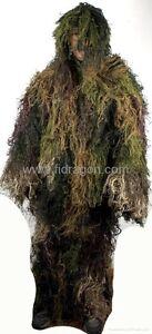3 Piece Burlap Ghillie Suit Woodland Camo Forest Color, Fit Large & X-Large Size