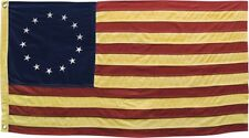 "AMERICAN BETSY ROSS COTTON AGED YELLOWED APPEARANCE FLAG ~ 58"" X 34"" PATRIOTIC"