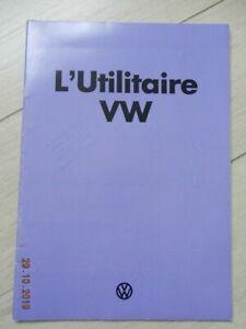Catalogue Volkswagen L'UTILITAIRE VW aout 1974 combi T3