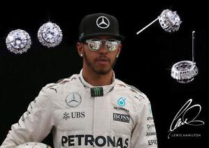 Men's Lewis Hamilton 18K Platinum Plated AAA Swiss Cubic Zirconia Gem Earrings