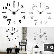 Mirror Surface Large Wall Clock Modern Diy 3D Sticker Home Decor Art Design 2020