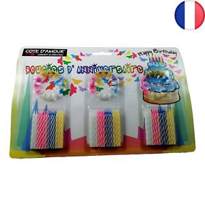 Lot de 72 Bougies Anniversaire Multicolores + 36 Supports (108 pcs) Enfant