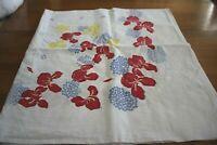 Vintage Mid Century Farmhouse Irises Hydrangeas Floral Cotton Tablecloth 48X50