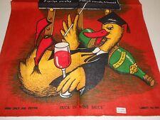 VINTAGE SOUVENIR TEA TOWEL IRISH/LINEN BY LAMONT 'DUCK IN WINE SAUCE' BRAND NEW