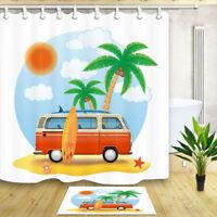 "Happy Camper Summer Beach Bathroom Waterproof Fabric Shower Curtain & Hooks 71"""