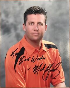 MIKE GUNDY Signed 8x10 Color Photo..OKLAHOMA STATE COWBOYS..COA