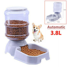 Pet Dog Puppy Cat Automatic Feeder Water Dispenser Travel Food Dish Bowl 3.8L
