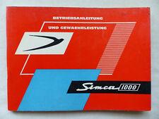 Simca 1000 Berline 45ps SOLEX-Carburateur mode d'emploi manuel d'entretien Manuel