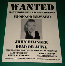 John Dillinger Reprint Dead or Alive Wanted Poster Gangster