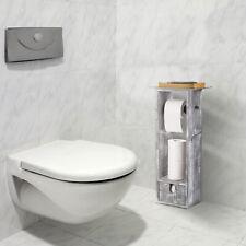Wooden Toilet Paper Roll Holder Organiser Bathroom Tissue Paper Roll Holder Gray
