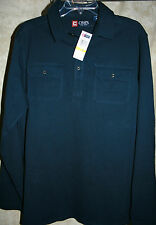 NEW CHAPS long sleeve shirt pullover button top 2 button down pockets blue M
