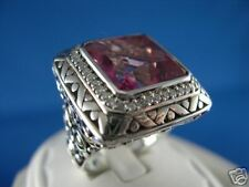 John Hardy Batu Sari Pink Topaz  Ring 18K Gold and Silver  size 7  NEW