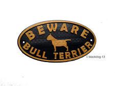 Bull Terrier Inglese & Motivo ATTENZIONE DOG SIGN-Casa Giardino Placca Oro/Nero
