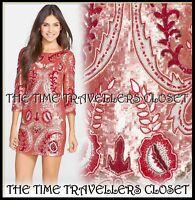 Needle & Thread Embellished Tapestry Motif Orange Red Mini Dress UK 12 RP £300