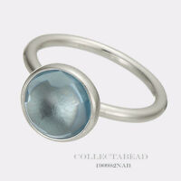 Authentic Pandora Silver Poetic Droplet Blue Ring Size 48 (4.5) 190982NAB