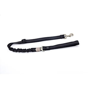 Dog leash with safety belt, with elastic shock absorption and strength