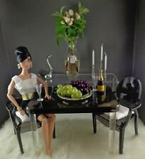 1/6 Scale Acrylic Dining Table with 2 Ghost Chairs for FR/Barbie Dolls Displays