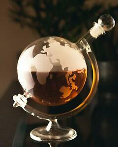 Whiskey Brandy Globe Decanter Glass Set Mens Unique Xmas Gift Tumblers World