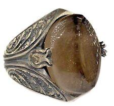 Sterling silver men ring, Steel pen processing handmade, smoky-quartz natural st